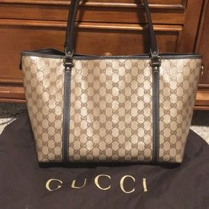 Authentic Gucci Joy Crystal Coated Canvas Tote